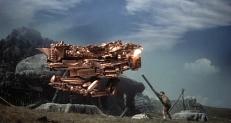 Herkules gegen ein mechanisches Riesenwesen