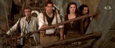 Jonathan (John Hannah), Rick (Brendan Fraser), Evy (Rachel Weisz) und Ardeth Bay (Oded Fehr)