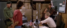Trautman (Richard Crenna), Rambo (Sylvester Stallone), Ericson (Martin Kove) und Murdock (Charles Napier)